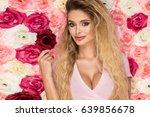 beautiful blonde girl in pink... | Shutterstock . vector #639856678