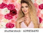 beautiful blonde girl in pink... | Shutterstock . vector #639856690