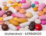 different tablets pills capsule ... | Shutterstock . vector #639868420