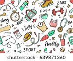 set of hand drawn sport doodle... | Shutterstock .eps vector #639871360