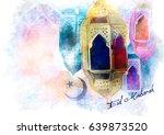 eid mubarak greeting   islamic... | Shutterstock . vector #639873520