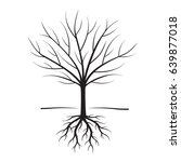 black naked tree and roots.... | Shutterstock .eps vector #639877018