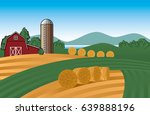 vector farm landscape... | Shutterstock .eps vector #639888196
