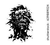 scary screaming vampire head.... | Shutterstock .eps vector #639889024