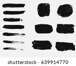 set of black paint  ink brush... | Shutterstock .eps vector #639914770