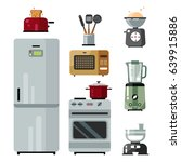 home kitchenware  food and... | Shutterstock .eps vector #639915886