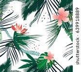 seamless tropical pattern palm... | Shutterstock .eps vector #639918889