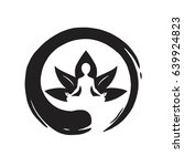 yoga lotus with zen circle logo ... | Shutterstock .eps vector #639924823