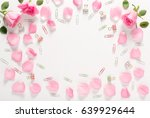 roses and leaves top view flat... | Shutterstock . vector #639929644