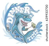 dinner time shark illustration. ... | Shutterstock .eps vector #639933700