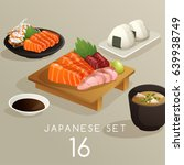 Set Of Japanese Food   Vector...