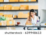 young asian small business... | Shutterstock . vector #639948613
