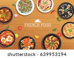 french food on a top view... | Shutterstock .eps vector #639953194