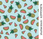 pineapple and watermelon... | Shutterstock .eps vector #639955876