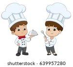 kid cartoon chef are preparing... | Shutterstock .eps vector #639957280