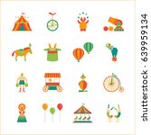 cartoon circus color icons set... | Shutterstock .eps vector #639959134