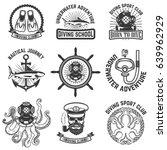 set of scuba diving club... | Shutterstock .eps vector #639962929