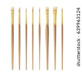 realistic artist paintbrushes... | Shutterstock . vector #639963124
