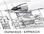draft interior sketch for... | Shutterstock . vector #639964114