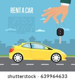 rent a car concept with family...   Shutterstock .eps vector #639964633