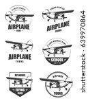 light airplane related emblems. ... | Shutterstock .eps vector #639970864