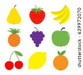 fruit berry icon set. pear ... | Shutterstock .eps vector #639972070
