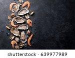 Fresh Seafood On Stone Table....