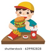 a cute boy eat hamburger with... | Shutterstock .eps vector #639982828