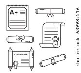 diploma scroll icon set in line ...   Shutterstock .eps vector #639985516