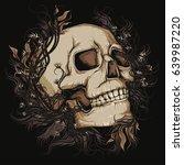 skull with leaves | Shutterstock .eps vector #639987220