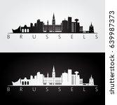 brussels skyline and landmarks... | Shutterstock .eps vector #639987373