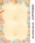vertical a4 size yellow sheet... | Shutterstock .eps vector #639990880
