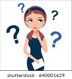 thinking businesswoman in a... | Shutterstock .eps vector #640001629