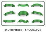 green ribbons set. satin glossy ...   Shutterstock .eps vector #640001929