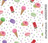 seamless pattern with donut ... | Shutterstock .eps vector #640003900