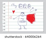 happy fathers day doodle vector ... | Shutterstock .eps vector #640006264