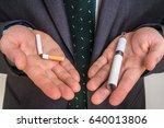 businessman offers a choice... | Shutterstock . vector #640013806