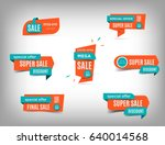 Sale banner collection, discount tag, special offer banner. Website stickers on a gray abstract background, color web page design. Set of discount banners. Vector illustration, eps10 | Shutterstock vector #640014568