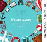 summer travel  vacation ... | Shutterstock .eps vector #640021843