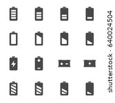 vector black battery icons set... | Shutterstock .eps vector #640024504