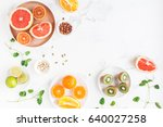 colorful fresh fruit on white... | Shutterstock . vector #640027258