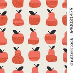 seamless pattern with apples ... | Shutterstock .eps vector #640031479