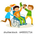 kids playing with a boy in... | Shutterstock . vector #640031716
