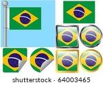 raster flag set brazil | Shutterstock . vector #64003465