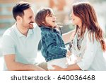 happy young family spending... | Shutterstock . vector #640036468