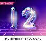 retro neon glowing glass... | Shutterstock .eps vector #640037146