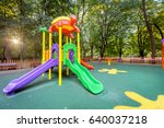 colorful playground on yard in... | Shutterstock . vector #640037218