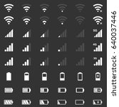wi fi signal icons  battery... | Shutterstock .eps vector #640037446