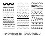 set of seamless zigzag and wave ... | Shutterstock .eps vector #640040830