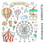 amusement park hand drawn... | Shutterstock .eps vector #640041976